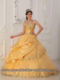 Voktorianisches Bustie Ballkleid mit Spitze Wolumen Abendkleid Brautkleid in Gold