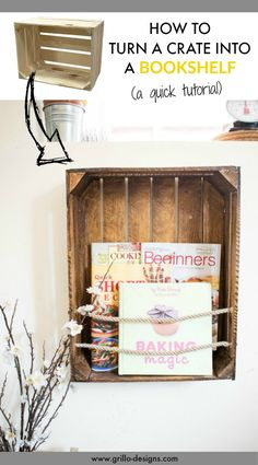 For this months create with me challenge, I made a DIY crate bookshelf from an old wooden crate. Super quick and easy to do. Get the tutorial here!