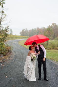Rainy Day Autumn Vineyard Wedding with Umbrella   Kat Forder Photography   Woodsy Weddings { See more photos on WW: http://www.woodsyweddings.com/2014/09/12/rainy-autumn-vineyard-wedding-ashley-tj/ }