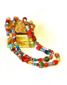BOHO Beaded Necklace  Tribal Trade Beads THE JOY MOOS COLLECTION/Ethnic Inspired Jewellry
