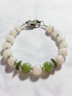 White and Green Jade Beaded Bracelet, Floral Bracelet