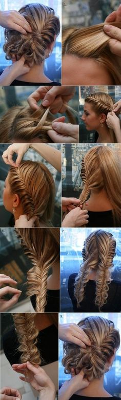 A French Fishtail into a messy bun