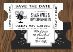 Vintage style art deco cinema save the date in by inkloveweddings
