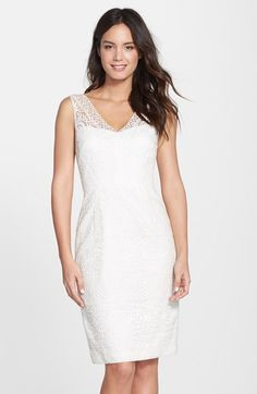 Maggy+London+Embroidered+Mesh+V-Neck+Sheath+Dress+available+at+#Nordstrom