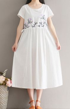 Women loose fitting over plus size retro flower embroidered dress white tunic #Unbranded #dress #Casual
