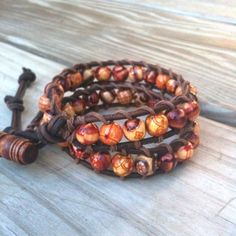 Double Hippie-- leather 2-wrap bracelet  patterned natural wood beads | TOWNOFBEADROCK - Jewelry on ArtFire