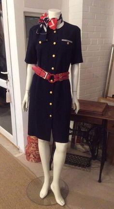 Vintage Eastex Navy Nautical Dress size UK 12  NOW REDUCED!!!