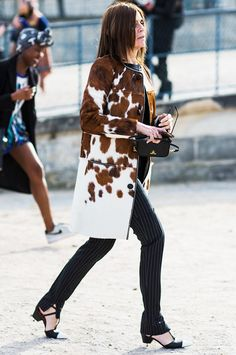 Carine Roitfeld in the most luxe-looking calf hair coat // Paris street style