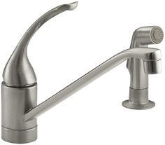 "Coralais Two-Hole Kitchen Sink Faucet with 10"" Spout, Matching Finish Side-Spray and Loop Handle"