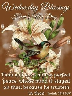 Wednesday Blessings ~~J Wednesday Prayer, Blessed Wednesday, Isaiah 26 3, Book Of Isaiah, Good Morning God Quotes, Good Morning Images, Wednesday Morning Greetings, Christian Facebook Cover, Monday Blessings