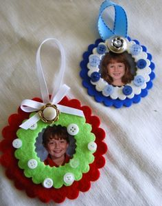 Kid's Crafts- Button Embellished Photo Ornaments - buttonsgaloreandmore.net