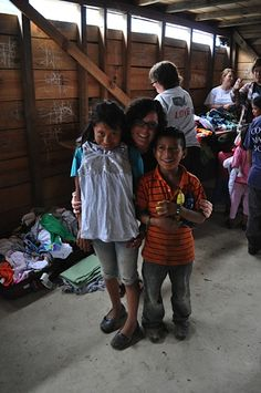 Volunteers help distribute Carter's clothing donations in Guatemala.