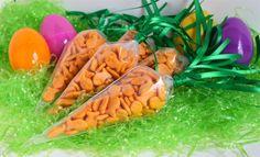 Spring DIY:  EASTER CARROTS! Goldfish Filled Carrots for Easter Baskets