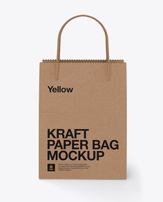 Kraft Bag W/ Twisted Paper Handles Mockup. Present your design on this mockup. Includes special layers and smart objects for your creative works. Paper Bag Design, Kraft Packaging, Kraft Bag, Bag Mockup, How To Make Logo, Bottle Mockup, Creative Words, Macbook, Ipad