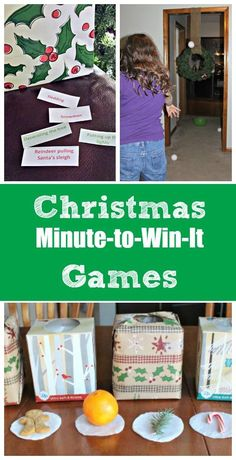 These fun Christmas minute to win it games & challenges will be a big hit at family gatherings, in the classroom & are perfect for Christmas Day activities!