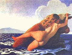 Félix Vallotton - The abduction of Europa. Tags: europa, females seduced by zeus, jupiter, zeus in disguise, transformations,