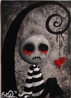 ACEO Dark Punk Emo Stripes Spooky Halloween Ugly Cute Heart Lowbrow Fantasy Original Painting 'Big Juicy Tears of Blood N' Pain' Cute Zombie, Zombie Art, Zombie Drawing Easy, Emo Art, Goth Art, Gothic Fantasy Art, Dark Gothic Art, Gothic Artwork, Ange Demon