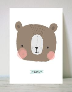 cute, bear, design, childrens, illustration, greeting card, colour, drawing