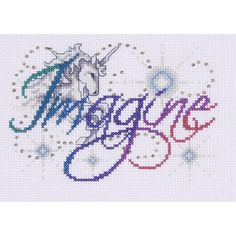 Featuring a unicorn and the inspirational sentiment Imagine. This Counted Cross Stitch kit comes complete with: 14 Coun Cross Stitch Quotes, Mini Cross Stitch, Cross Stitch Alphabet, Counted Cross Stitch Patterns, Cross Stitch Designs, Cross Stitch Embroidery, Embroidery Patterns, Stitching Patterns, Unicorn Cross Stitch Pattern