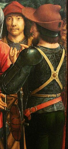 note how the buckler is hung from the sword's hilt.