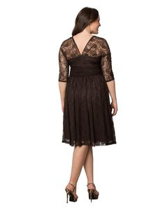 """Formal party dress:Flattering ruched waistband and an on-trend illusion neckline,Double V neck,Fit and flare design,elegant lace dress Full length dress: 61 ½"""" from high point of shoulders to hem,16"""" sleeve length Special occasion dress: wedding,cocktail,banquets, evening party,family gathering, garden party and other formal occassions"""