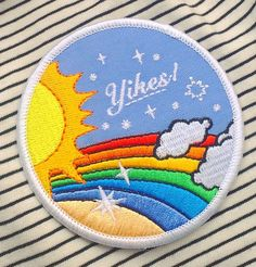 Express your love of awkward situations with this retro inspired rainbow lovin' Wide, Embroidered Iron-On Patch Cute Patches, Pin And Patches, Sew On Patches, Iron On Patches, Jacket Pins, Stickers, Embroidery Patches, Cool Pins, Scrappy Quilts
