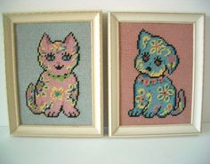 Vintage Needlepoint Dog and Cat Pictures by REdesignkc on Etsy