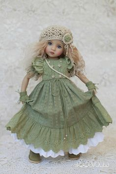 Little Darling set Outfit for doll Dress with embroidery Boho