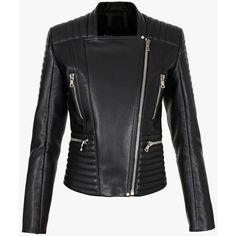 Balmain Lambskin biker jacket (11,570 PEN) ❤ liked on Polyvore featuring outerwear, jackets, zip jacket, zipper jacket, lambskin jacket, lambskin leather jacket and black moto jacket