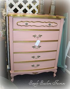 Back in the 70's, we painted dark furniture in white paint with gold accents, in the 90's we hated it and stripped it all off, here we are again, painting it!! LOL!!  I love this pink...very girly!