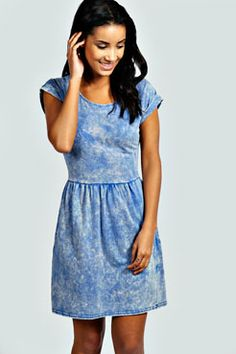 Acid wash denim dress
