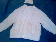 Irish Arran Knitted, soft acrylic wool, White, or custom made for you?  for more info please email thecraftyshamrock@gmail.com Hand Crochet, Hand Knitting, Acrylic Wool, Girl Shower, Boy Or Girl, Irish, Unique Gifts, Arran, Sewing