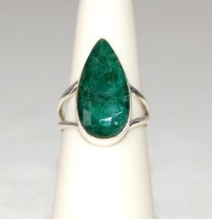 Wonderful 10 Carat Green Emerald Teardrop Ring by WindstoneDesigns, $46.95