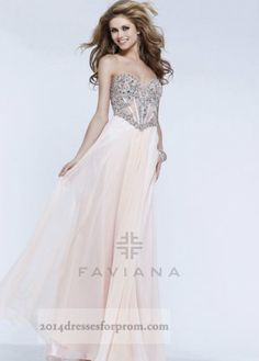 Champagne Beaded Top Mesh Long Prom Dresses 2014