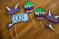 Dinosaur themed photo booth props for birthday party