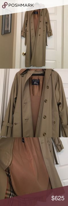Authentic Vintage Burberry Raincoat, like NEW! 100% Authentic Vintage Burberry full length classic raincoat. Women's size 4. Mint condition. Like NEW! Burberry Jackets & Coats Trench Coats