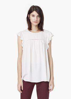 Ruffled sleeve blouse -  Women | MANGO