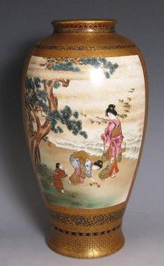Japanese Satsuma Vase with Bijin (View One)