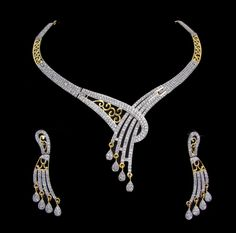 Indian Bridal CZ AD Necklace Gold & Silver Two Tone Bollywood Swam Jewelry 221