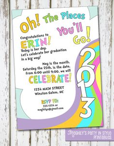 Oh, The Places You'll Go - graduation invitation. $8.00, via Etsy.