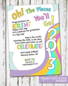Oh, The Places You'll Go - graduation invitation. $8.00, via Etsy.