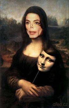 Michael Jackson Mona Lisa by Leonardo da Vinci Funny Art, Funny Memes, It's Funny, Tableaux Vivants, Wal Art, Mona Lisa Parody, Arte Pop, Photomontage, Art Plastique