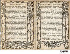 Antique Vintage Book Pages with Victorian Flourishes, Art Nouveau Borders