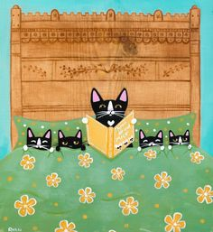 Mother's Bedtime Story and Kittens Original Cat Folk Art