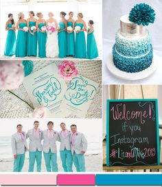 wedding color ideas 2015 - beach wedding vibrant turquoise wedding color trends 2015