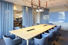 BSK Architects have created the design for their offices located in Stockholm, Sweden. Corporate Office Decor, Corporate Interiors, Office Interiors, Corporate Offices, Glass White Board, Office Open Plan, Blue Office, Workplace Design, Office Workspace