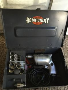 """Vintage HOME UTILITY ELECTRIC TOOLS Kit Steel Box with 1/4"""" Drill Black & Decker"""