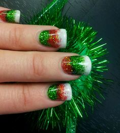 christmas gel nails with christmas trees holly and green and red glitter nails by corina pinterest christmas gel nails red glitter and christmas - Red And Green Christmas Nails