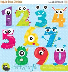 BUY 20 GET 10 OFF Monster numbers clipart, clipart commercial use, vector graphics, digital clip art, digital images - by Prettygrafikdesign Monster Party, Monster Birthday Parties, Fun Crafts, Crafts For Kids, Arts And Crafts, Monster Theme Classroom, Monster Clipart, Image Paper, Clip Art
