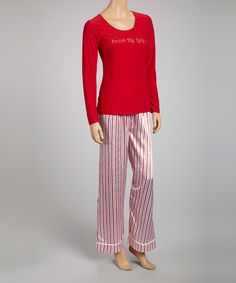 Take a look at this Red Candy Cane Stripe Satin Pajamas - Women by Cinema Etoile on #zulily today!